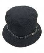COACH(コーチ)の古着「シグネチャー柄バケットハット」|ブラック