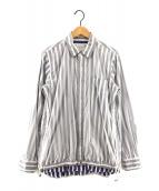 ()の古着「19AWナイロンシャツ」 ホワイト×ブルー