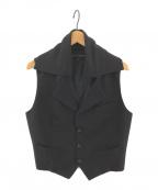 COMME des GARCONS(コムデギャルソン)の古着「[OLD]ヴィンテージ変型ノースリーブテーラードジレ」 ブラック