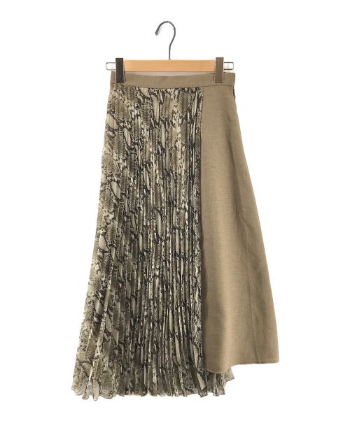 Diagram(ダイアグラム)Diagram (ダイアグラム) パイソンプリントプリーツスカート カーキ サイズ:36の古着・服飾アイテム