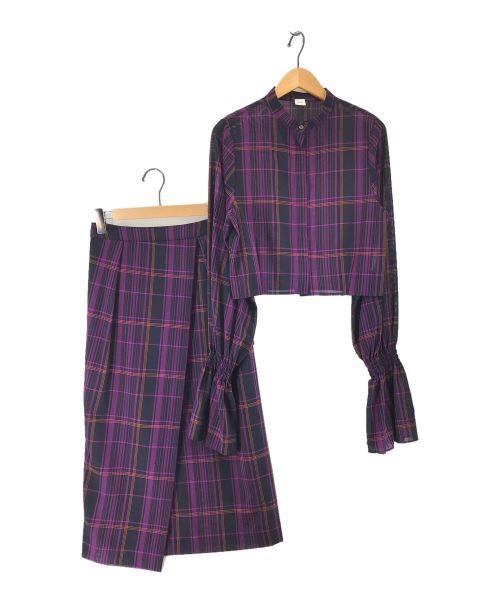 ELIN(エリン)ELIN (エリン) タータンチェックボウタイセットアップブラウス パープル サイズ:36の古着・服飾アイテム