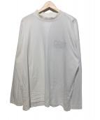MARTINE ROSE(マーティン ローズ)の古着「Mockneck Long Sleeve T-Shirt」|ホワイト×レッド