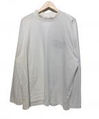 MARTINE ROSE(マーティン ローズ)の古着「Mockneck Long Sleeve T-Shirt」 ホワイト×レッド