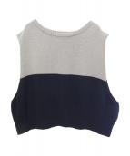 NEON SIGN(ネオンサイン)の古着「Bi-color Vest/ニットベスト」|グレー×ブラック