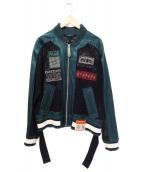 Maison MIHARA YASUHIRO(メゾンミハラヤスヒロ)の古着「メッシュブルゾン ジャケット」|グリーン×ブラック