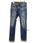 Denham(デンハム)の古着「リペアデニムパンツ」 ブルー