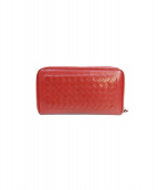 BOTTEGA VENETA(ボッテガヴェネタ)の古着「イントレチャート長財布」|レッド