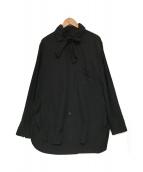 ()の古着「ボウタイストールシャツ」|ブラック