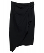 DONNA KARAN NEW YORK(ダナキャランニューヨーク)の古着「ラップスカート」 ブラック