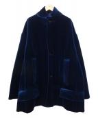 TOGA PULLA(トーガプルラ)の古着「オーバーサイズベルベットジャケット」|ネイビー