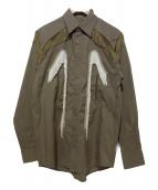 TOGA VIRILIS(トーガ ヴィリリース)の古着「フリンジウエスタンシャツ」|カーキ