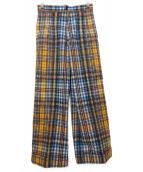 TOGA PULLA(トーガ プルラ)の古着「COTTON TWILL CHECK PANTS」|オレンジ