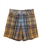 TOGA PULLA(トーガ プルラ)の古着「COTTON TWILL CHECK SHORT PANTS」 オレンジ