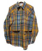 TOGA PULLA(トーガ プルラ)の古着「BROAD WESTERN CHECK SHIRT/チェック」|オレンジ