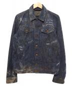 DIESEL(ディーゼル)の古着「スプラッシュ加工デニムジャケット」|ブルー