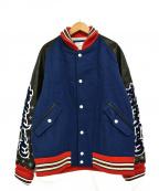 whiz limited(ウィズリミテッド)の古着「レザー スリーブ 刺繍 ロゴ スタジャン」 ブルー