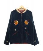 ROTAR(ローター)の古着「ベロアスーベニアジャケット」|ブルー