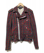 COMME des GARCONS Homme Plus(コムデギャルソンオムプリュス)の古着「チェックライダースジャケット」|レッド