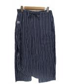 KAPITAL(キャピタル)の古着「ラップデザインストライプワイドパンツ」 ネイビー×ホワイト