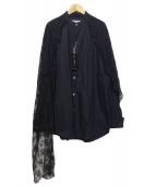 DOLCE & GABBANA(ドルチェアンドガッバーナ)の古着「レース付ロングシャツ」 ブラック