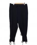 Yohji Yamamoto pour homme(ヨウジヤマモトプールオム)の古着「シワギャバE前裾レースアップパンツ」|ブラック