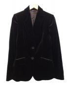 BURBERRY(バーバリー)の古着「ベルベットテーラードジャケット」|ブラック