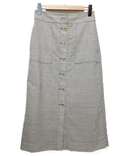 3.1 phillip lim(スリーワンフィリップリム)3.1 phillip lim (スリーワン・フィリップ・リム) 前開きスカート グレー サイズ:2の古着・服飾アイテム