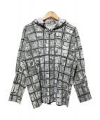 HOMME PLISSE ISSEY MIYAKE(オム プリッセ イッセイ ミヤケ)の古着「フーデットプリーツジャケット」|グレー