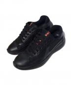 PRADA()の古着「レザー切替スニーカー」|ブラック