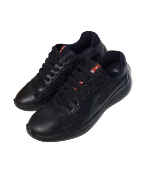PRADA(プラダ)PRADA (プラダ) レザー切替スニーカー ブラック サイズ:8の古着・服飾アイテム