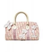 Christian Dior(クリスチャンディオール)の古着「ミニボストンバッグ」 ホワイト×ピンク