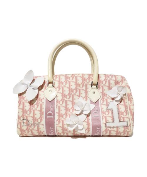 Christian Dior(クリスチャン ディオール)Christian Dior (クリスチャンディオール) ミニボストンバッグ ホワイト×ピンク トロッター B0B1023の古着・服飾アイテム