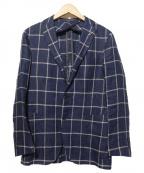 TAGLIATORE(タリアトーレ)の古着「リネンチェックテーラードジャケット」|ネイビー