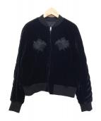 noir kei ninomiya(ノワール ケイ ニノミヤ)の古着「刺繍デザインベロアスーベニアジャケット」|ブラック