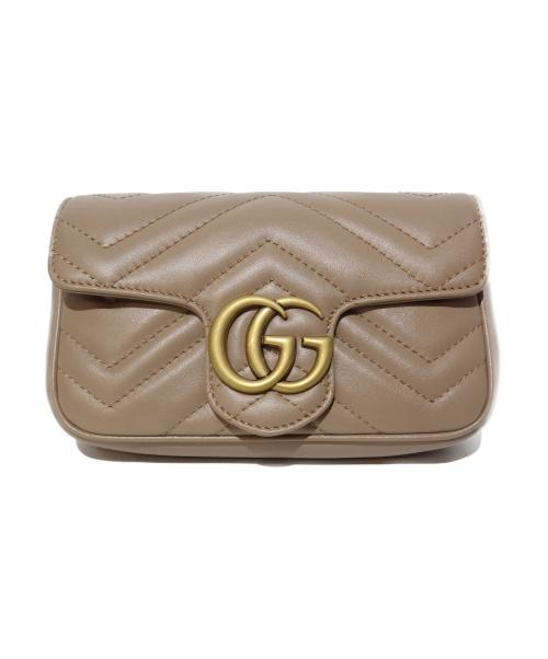 GUCCI(グッチ)GUCCI (グッチ) GGマーモント スーパーミニバッグ グレージュ 476433 493075の古着・服飾アイテム