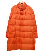 ISSEY MIYAKE(イッセイミヤケ)の古着「プリーツダウンコート」 オレンジ