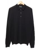 JOHN SMEDLEY(ジョンス メドレー)の古着「L/Sニットポロシャツ」|ブラック