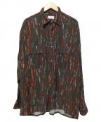 LITTLEBIG(リトルビッグ)の古着「総柄ダブルポケットシャツ」|グレー×レッド