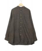 FRANK LEDER(フランクリーダー)の古着「ウールノーカラーシャツ」|オリーブ