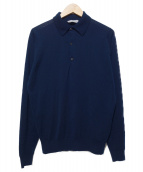 JOHN SMEDLEY(ジョンスメドレー)の古着「L/Sニットポロシャツ  BEAMS F別注」|ネイビー