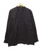CASEY CASEY(ケーシーケーシー)の古着「バンドカラーシャツ」 ブラック