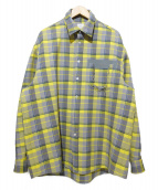 Name.(ネーム)の古着「チェックシャツジャケット」|グレー×イエロー