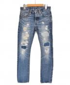 Hysteric Glamour()の古着「14SS リペア加工スタッズデニムパンツ」|インディゴ