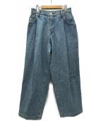 NEON SIGN(ネオンサイン)の古着「Wide Denim Slacks デニムパンツ」|ライトブルー