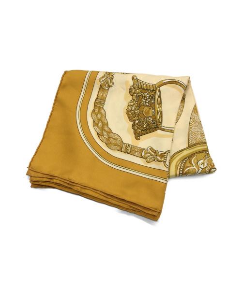 HERMES(エルメス)HERMES (エルメス) カレ90 スカーフ ベージュ×ゴールドの古着・服飾アイテム