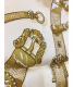 中古・古着 HERMES (エルメス) カレ90 スカーフ ベージュ×ゴールド:14800円