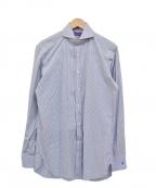 RALPH LAUREN PurpleLabel(ラルフローレンパープルレーベル)の古着「ストライプブロードシャツ」|スカイブルー