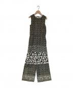 sara mallika(サラマリカ)の古着「リーフプリント オールインワン」|ブラック×ホワイト