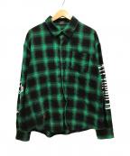 glamb(グラム)の古着「長袖シャドーチェックシャツ」|グリーン