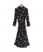 INSCRIRE(アンスクリア)の古着「フラワープリントドレス」|ブラック